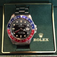 My personal Rolex - GMT Master 16750.  Given to me by my wife as my wedding present in 1986. Dream Watches, Cool Watches, Sport Watches, Watches For Men, Men's Watches, Mens Suits, Mens Fashion Suits, Vintage Watches, Monster Garage