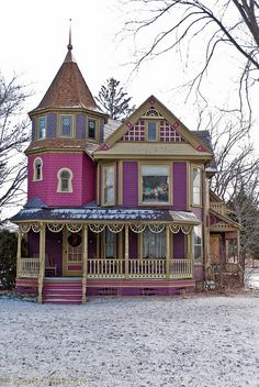 Would change the colors, but love the architecture and the molding used on this house in Scio, NY! Pink Houses, Old Houses, Colorful Houses, Abandoned Houses, Beautiful Buildings, Beautiful Homes, This Old House, Victorian Style Homes, Purple Home