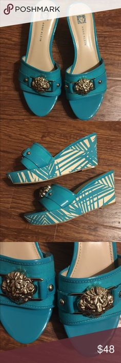 Anne Klein wedges size 7 Anne Klein aqua blue and white wedges/slides. Tropical print platform. Size 7. Looks brand new  except for a tiny wear on the sole. Worn one time. Anne Klein Shoes Wedges