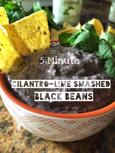 A Happy Carrot: five-minute cilantro-lime smashed black beans!