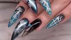 Celina Ryden gives a tutorial on a chrome and glitter ombre design with a fun boho pattern.