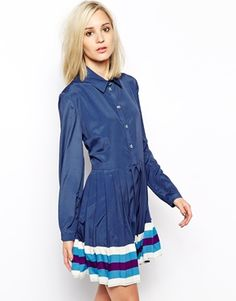 Image 1 ofHouse of Holland Shirt Dress with Pleating
