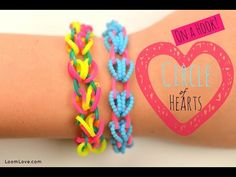 ▶ How to Make a Rainbow Loom Circle of Hearts (on a Hook) - YouTube#t=164
