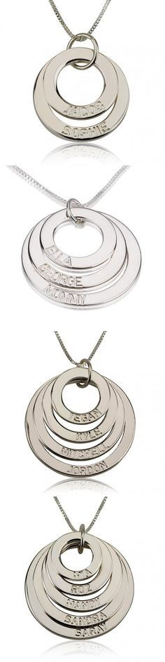 Engraved Mother Necklace. Customize this special necklace with the names and number of pendants you need.