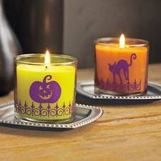 """Halloween Fun Scented Candle Pair-Favorite Halloween motifs get your home into the spooky spirit! Set includes two wax-filled, patterned glass jars, one of each fragrance: Hocus Pocus™ and Halloween Night™. 2¾""""h. Burn time: 20-30 hours $20.00/set of 2. www.partylite.biz/KellyMarti"""