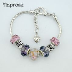 2016 Haprose High Quality Flower Charms Beads purple bracelet Silver Plated Crystal Beads Fashion Bracelets & Bangles for Women