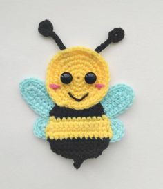 PATTERN Bugs Applique Crochet Patterns PDF Caterpillar Bee Grasshopper Ledybug Crochet Appliques Spring Suumer Motif Baby Blanket Gift ENG – Awesome Knitting Ideas and Newest Knitting Models Motifs D'appliques, Crochet Motifs, Crochet Flower Patterns, Applique Patterns, Baby Knitting Patterns, Crochet Flowers, Crochet Appliques, Crochet Bee Applique, Baby Applique