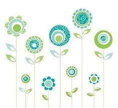 Retro Patterned Flower Vectors