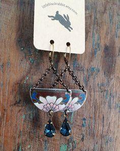 lotus  vintage tin and rhinestone earrings by littleblackrabbit