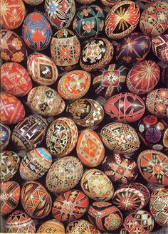 Russian Easter eggs are called Pysanky.  My Grandmother Burko used to make these when my mom was a girl.  God bless them both!