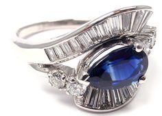 RARE! VINTAGE AUTHENTIC CARTIER PLATINUM DIAMOND PEAR SHAPE SAPPHIRE RING | eBay - $8,740