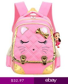 a746cc9c908c Cat Face Waterproof Kids Backpack School Bookbag for Primary Girls Students  Pink Cute Girl Backpacks