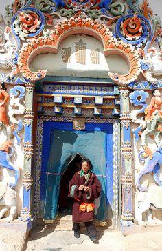 "Pilgrim at Gyantse Kumbum ~ Tibet ~ Miks' Pics ""Doors, Vinders und Gates l"" board @ http://www.pinterest.com/msmgish/doors-vinders-und-gates-l/"