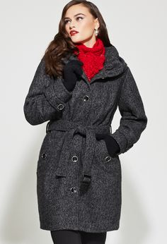 Plus Size Tweed Ruched Collar Coat | Plus Size Wool & Wool Blends | Avenue
