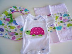 Custom Baby Bib Appliqued onesie and burp cloth by Stitchedbygigi, $21.00
