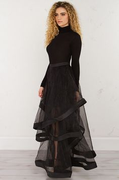 side view Pixie MIdi Skirt in Black