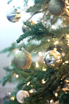 holiday decor: gold/silver/white ornaments