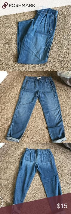 NWOT boyfriend drawstring jeans Boyfriend jeans with draw string and zipper pockets. Never worn. Jessica Simpson Jeans Boyfriend