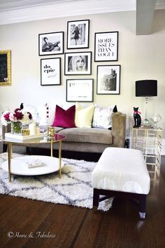 LIVING IN 550 SQ FT Found this beautiful gold side table at HomeGoods that blends in perfectly with my daughters living room! (Sponsored pin)