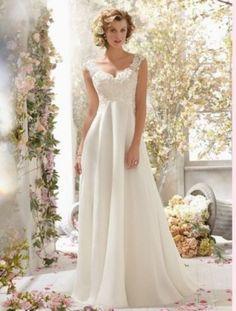 New White/Ivory Chiffon Wedding Dress Bridal Gown Custom Size 2-4-6---18