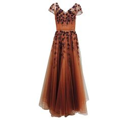 1940s beaded & sequined cinnamon tulle evening gown | 1stdibs.com