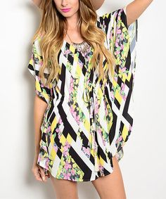 Look at this #zulilyfind! Black & Yellow Geometric Floral Cape-Sleeve Romper #zulilyfinds