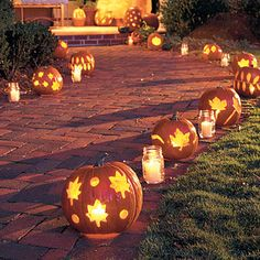 Lit Pumpkin Path.  Instructions on how to make from Southern Living.com.