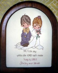 Wedding Sampler for Steven & Shelley.  She is a Precious Moments collector. - 1989