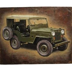 Gifts & Novelties | Army & Outdoors  Army Jeep Painting ***We cannot ship this item... Small Gifts, Gifts For Kids, Rustic Painting, Army Gifts, Camo Fashion, Woodland Camo, Loot Bags, Monster Trucks, Puzzle