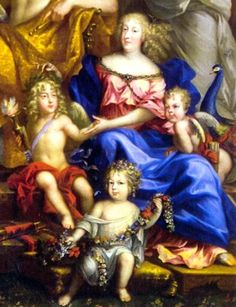 Detail of Queen Marie Thérèse and her children from the Family of Louis XIV mural in Versailles, 1670 by Jean Nocret (1615-1672)