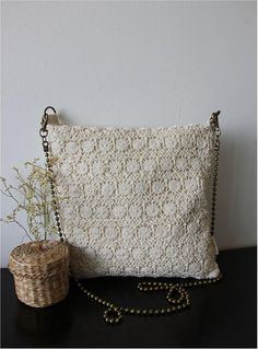 Bridesmaid Gift: Originally Designed and Handmade Unique Chic Vintage Off White Cotton Lace Novelty