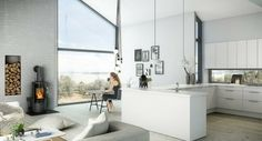 cuisine blanche de design avec cheminée