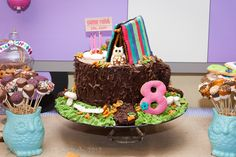 Cute Cake: love the fire pit with the candles and the side of chocolate dipped mashmallows