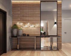 Muro vestibulo...formato delgado...espejo en marco metalico