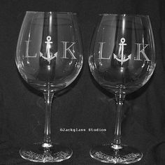 Nautical Wedding Etched Anchor Personalized Wine by Jackglass, $36.00