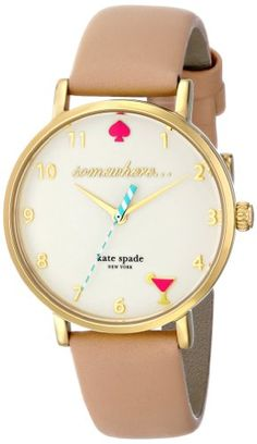 Kate Spade new york Women's 1YRU0484 Metro Analog Display Japanese Quartz Beige Watch