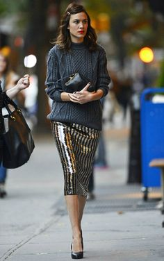 Alexa Chung wearing Marc Jacobs Grey Cableknit Mock Turtleneck Sweater Marc Jacobs Striped Sequined Pencil Skirt