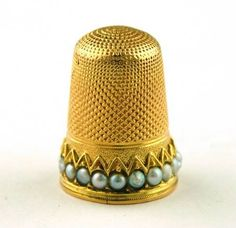 Gold and Pearl English Thimble