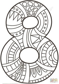 Crafts Printable Number 8 Zentangle coloring page from Zentangle Numbers category. Select from 21162 printable crafts of cartoons, nature, animals, Bible and… Free Printable Coloring Pages, Coloring Book Pages, Coloring Pages For Kids, Coloring Sheets, Numbers Preschool, Math Numbers, Alphabet And Numbers, Printable Crafts, Printables