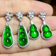 Two sets of carved Jadeite and diamond earrings @margueritecaicai