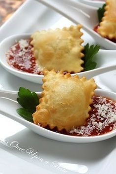 Buy ravioli in a bag and then bake them in the oven! Crispy ravioli and marinara sauce. Dip the thawed ravioli in lightly beaten egg whites then roll them in a mixture of bread crumbs, garlic salt and shredded parm cheese.  Bake for 20 minutes or so at 375 degrees.