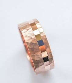 Rose Gold wedding ring mens wedding band 8mm wide hammered sandblast finish and off centered cubes