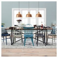 Wynnefield Mixed Material Trestle Dining Table - Threshold™ : Target Mixed chairs look good too and can add some color