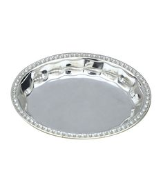 Oval Bowl with Swarovski Edges,Silver Plated,Online Gifts Shopping India