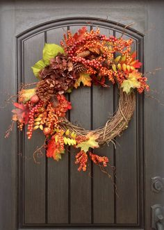 Fall WreathAutumn Wreath BerryTwigHoliday by AnExtraordinaryGift, $85.00