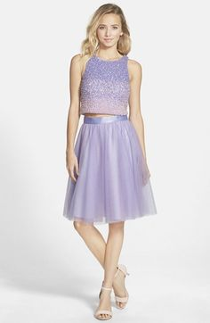 Glamour by Terani Couture Beaded Top & Tulle Two-Piece Dress available at #Nordstrom