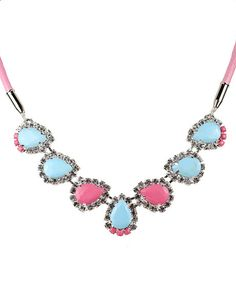 Blue and Pink Small Crystal Bib