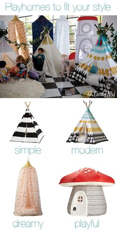 Add fun to your kids bedroom. Create a playspace anyplace with a teepee or playhouse. By choosing a playhouse that's both functional and chic, you can add interest to your living space, while also keeping the little ones busy. Deco Kids, Crafts For Kids, Diy Crafts, Ideas Hogar, Little Doll, Play Houses, Baby Love, Kids Playing, Little Ones