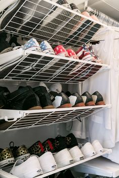 A Magic Fix For Even The Tiniest Closet #refinery29  http://www.refinery29.com/small-walk-in-closet-organization-ideas#slide7  After:  Her sneakers and heels are much easier to spot hung on a wall.