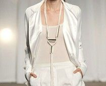 Silver tube necklace. DIYable from New York Fashion Week